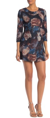 Papillon Watercolor Floral 3/4 Sleeve Swing Dress