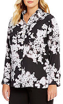 Calvin Klein Plus Printed Roll-Tab Sleeve Tunic
