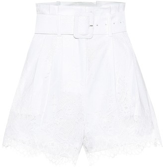 Self-Portrait Lace-trimmed belted Bermuda shorts