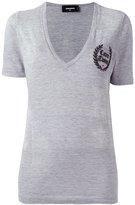 DSQUARED2 Caten Twins V-neck T-shirt - women - Cotton/Viscose - XS