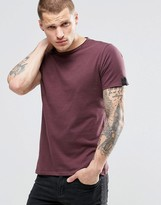 Replay T-Shirt with Raw Edge In Burgundy