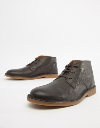 Selected leather desert boot-Brown
