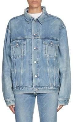 Balenciaga Ripped Denim Logo Jacket