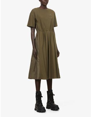 Moncler Abito cotton and shell midi dress