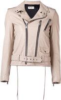 Saint Laurent classic biker jacket - women - Cotton/Lamb Skin/Polyester/Cupro - 38