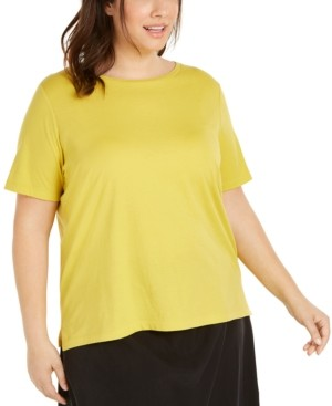 Eileen Fisher Plus Size Cotton T-Shirt