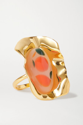 EJING ZHANG Effie Gold-plated And Resin Ring - Orange