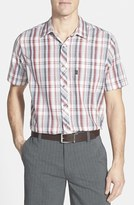 Travis Mathew Men's 'Haskell' Slim Fit Short Sleeve Plaid Sport Shirt