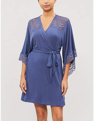 Eberjey Simona flared-sleeve jersey and lace robe