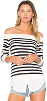 Central Park West Santa Cruz Off Shoulder Sweater in Black & White. - size L (also in M,S,XS)
