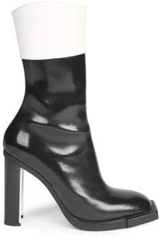 Alexander McQueen Leather Block Heel Booties