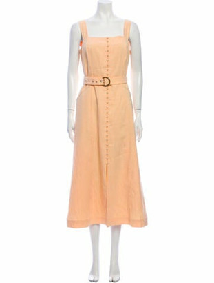 Jonathan Simkhai Square Neckline Long Dress Orange