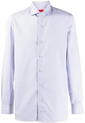 Isaia micro-check shirt