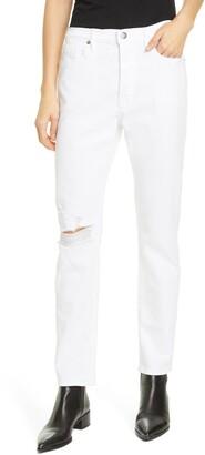 Frame Le Beau Ripped Straight Leg Boyfriend Jeans