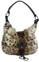 Isabella Fiore Brown & Cream Rabbit Fur Shoulder Bag