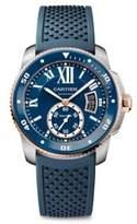 Cartier Calibre de Stainless Steel, 18K Pink Gold & Rubber Strap Watch