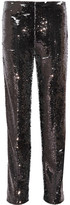 MSGM Sequined Crepe Straight-leg Pants - Black