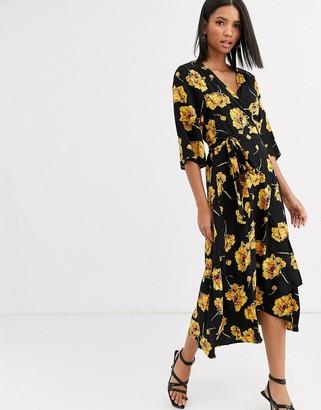 Vila floral wrap dress
