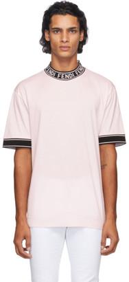 Fendi Pink Logo Collar T-Shirt