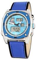 Trias Unisex Quartz Watch with Black Dial Analogue Display Digital Quartz Leather AND007/Blue
