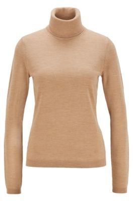 HUGO BOSS Roll-neck sweater in mercerised Merino wool
