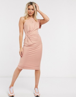 ASOS DESIGN going out fallen shoulder one sleeve midi dress in blush