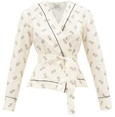 Giuliva Heritage Collection The Amanda Geometric-print Cotton-blend Wrap Top - Womens - Ivory Multi
