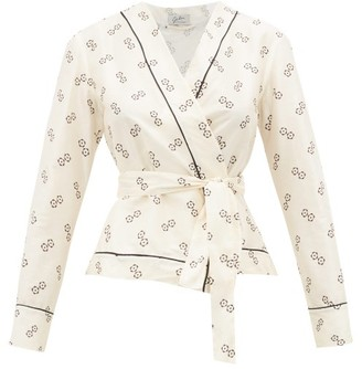 Giuliva Heritage Collection The Amanda Geometric-print Cotton-blend Wrap Top - Ivory Multi