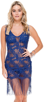 Luli Fama Flirty Fringe Dress In Blue (L505982)