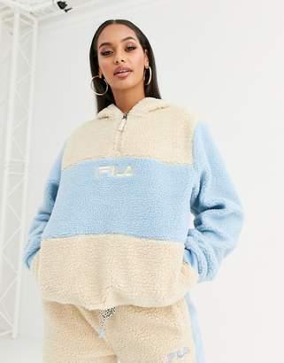 Fila half zip hoodie in pastel colour block teddy fleece co-ord-Cream