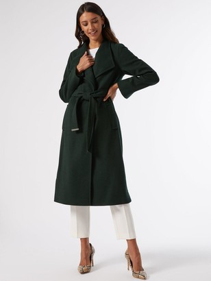 Dorothy Perkins Glossy Funnel Collar Belted Coat - Green