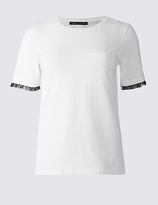 M&S Collection Cotton Rich Ruffle Sleeve T-Shirt