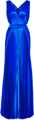 Semsem Pleated Satin Jumpsuit