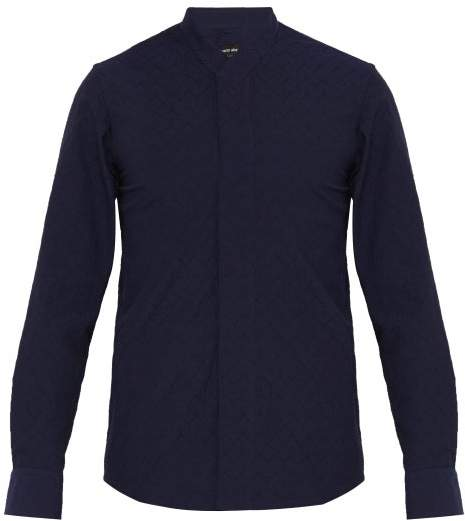Giorgio Armani Zigzag Weave Cotton Blend Shirt - Mens - Navy
