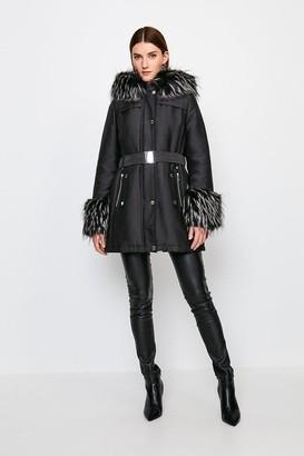 Karen Millen Faux Fur Trimmed Parka Coat