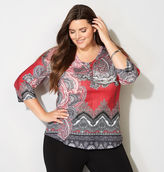 Avenue Paisley Thermal Henley Top