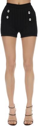 Giuseppe di Morabito High Waist Cotton Knit Shorts W/crystals