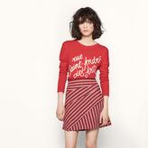 Maje Asymmetric jacquard miniskirt