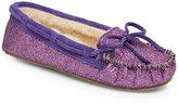 Minnetonka Purple Cally Glitter Moccasin Slippers