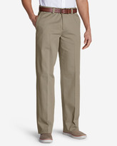 Eddie Bauer Men's Wrinkle-Free Relaxed Fit Comfort Waist Flat Front Casual Performance Chino Pants