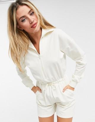 ASOS DESIGN zip front sweat romper in winter white