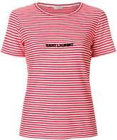 Saint Laurent logo embroidered striped T-shirt