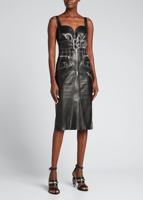 Alexander McQueen Exposed-Zip Belted Leather Dress