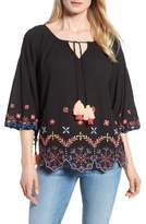 Kas Hand Embroidered Cotton Peasant Blouse