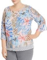 Status by Chenault Plus Floral-Print Layered-Look Top