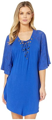 Dotti Resort Solids Grommet Lace-Up Mixed Media Tunic Cover-Up (Royal) Women's Swimwear