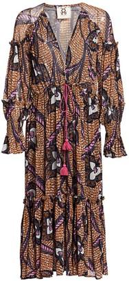 Figue Veronika Print Flounce Midi Dress
