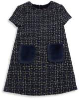 Imoga Toddler's & Little Girl's Tweed Faux Fur Trimmed Dress