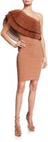 Herve Leger One-Shoulder Ruffled Bandage Dress