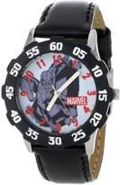 Spiderman Marvel Comics Kids' W001047 Tween Stainless Steel Black Bezel Black Leather Strap Watch